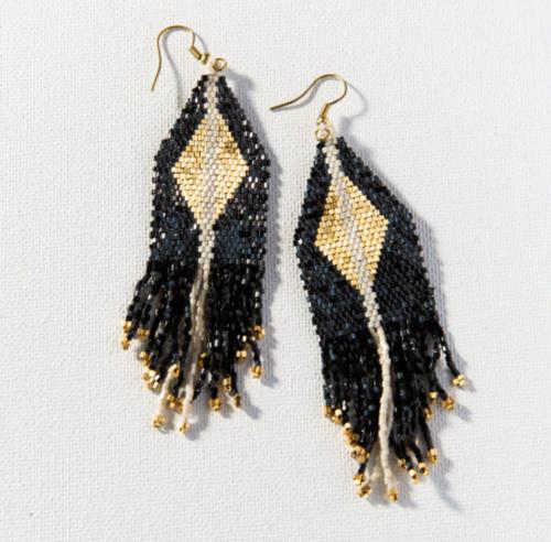 BLACK GOLD DIAMOND FRINGE EARRING