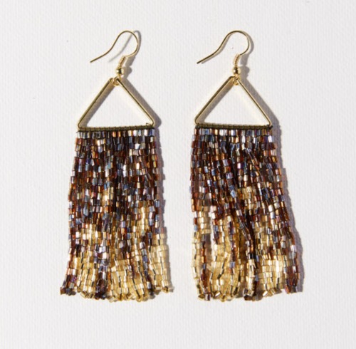 BROWN GOLD IRIDESCENT FRINGE ON TRIANGLE EARRING