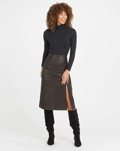Leather Like Midi Skirt