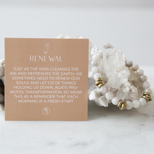 Gray Agate Gemstone Stretch Bracelets | 8mm
