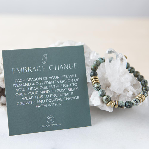 African Turquoise Gemstone Stretch Bracelets | 8mm