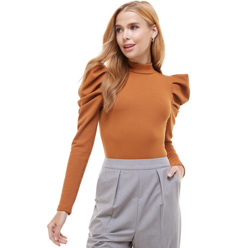 HIGH NECK BODYSUIT WITH PUFF SLEEVE