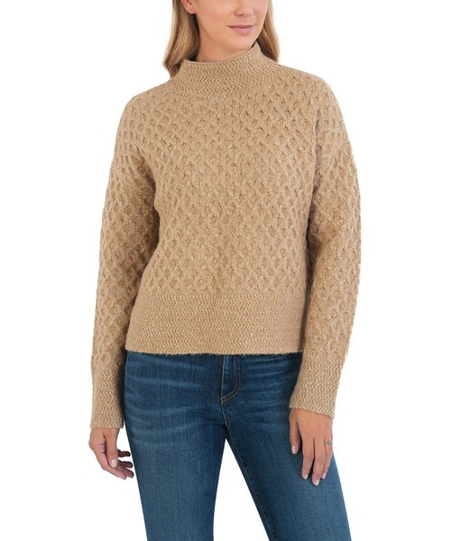 HIGH NECK CABLE DETAIL SWEATER