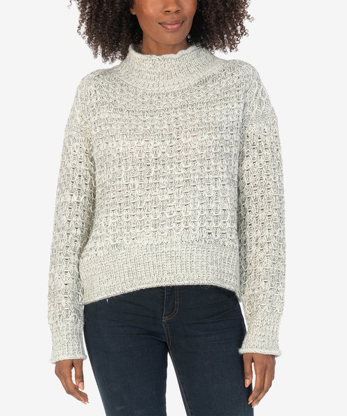 LEONA RIBBED FUNNEL NECK SWEATER