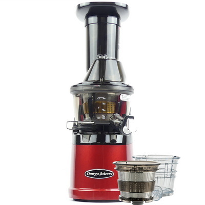 Omega MMV702R Mega Mouth Slow Juicer With Accessories in Red