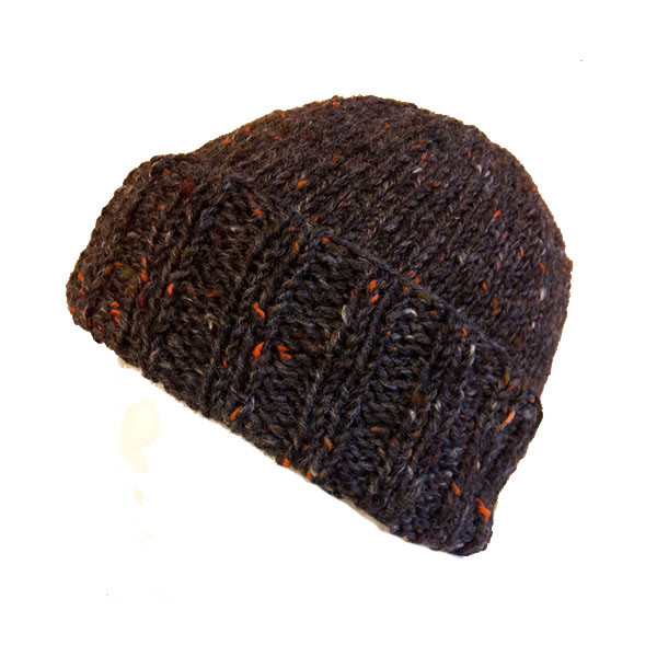 Donegal Tweed Turned Back Rib Hat Charcoal Grey