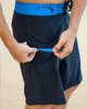 "Mana 21"" Stretch Boardshort Black with Blue Zipper"
