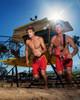 "Hawaiian Lifeguard Uniform Men's 19"" Red and Yellow Boardshort Action"