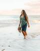 Navy Plus Size Women's Boardshort Wide on Beach