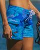 """Monstera Leaf Blue 5"""" Women's Boardshort Side"""