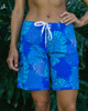 "Monstera Leaf Blue 9"" Women's Boardshort Front"