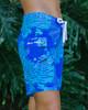 """Monstera Leaf Blue 9"""" Women's Boardshort Side"""