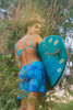 """Monstera Leaf Blue 9"""" Boardshort"""