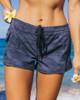 """Waikiki Black Camo 2.5"""" Elastic Waistband Women's Boardshort Front"""