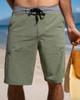 """Olive Hybrid 21"""" Boardshort Walkshort Cotton Blend"""
