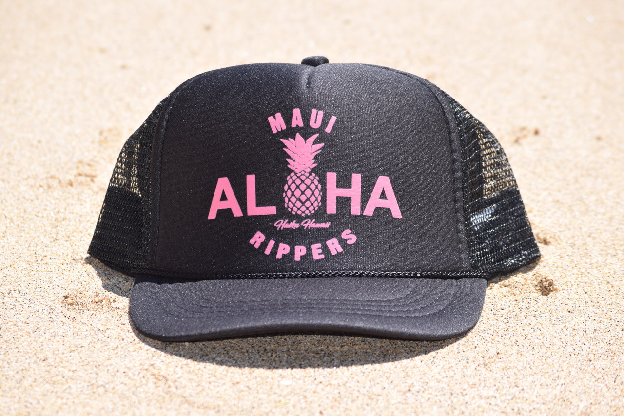 a94fb57e1d99fb Aloha Pineapple Trucker Black Pink - Maui Rippers Boardshorts