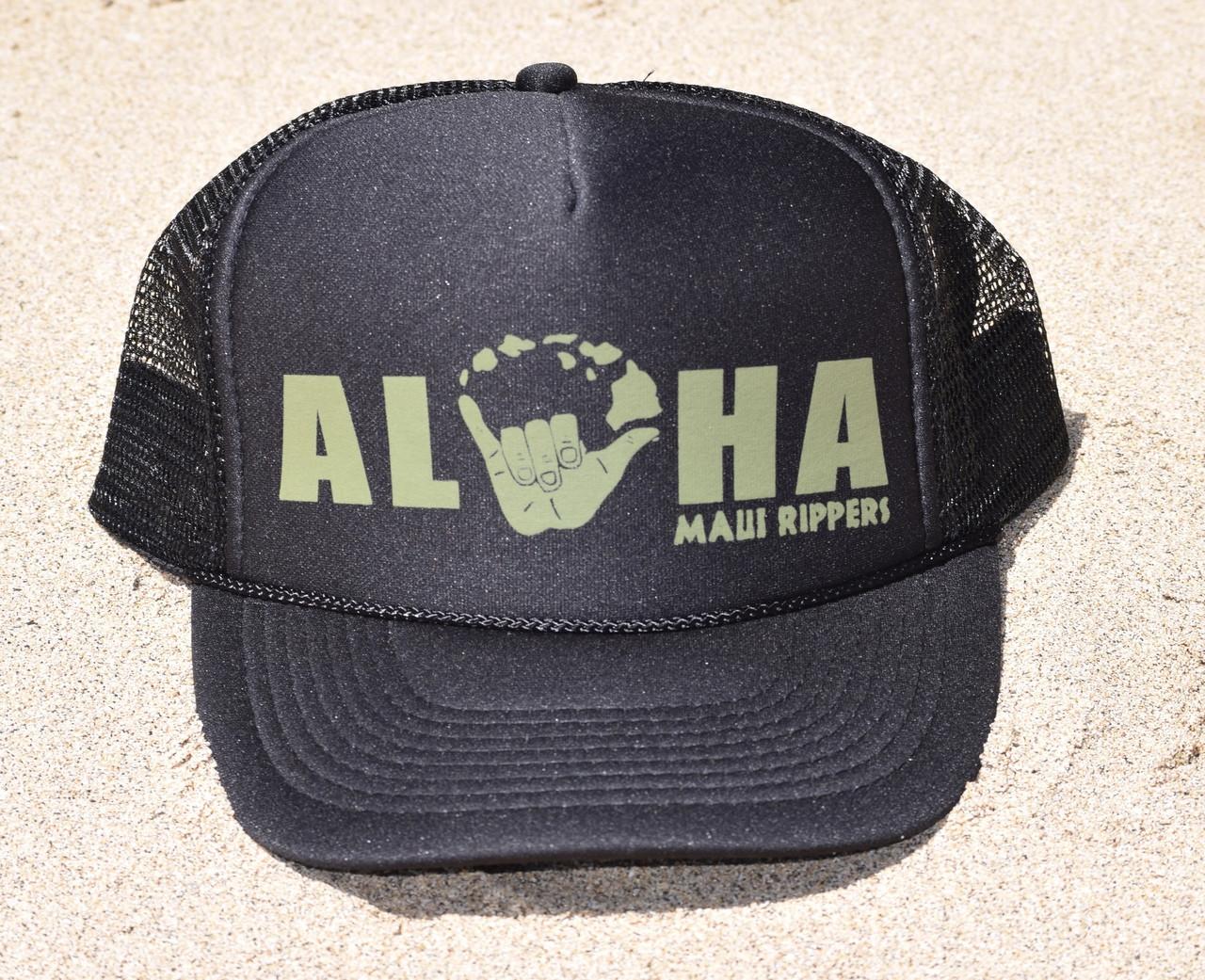 805b4b72fe0b54 Aloha Shaka Trucker Hat Black Green - Maui Rippers Boardshorts