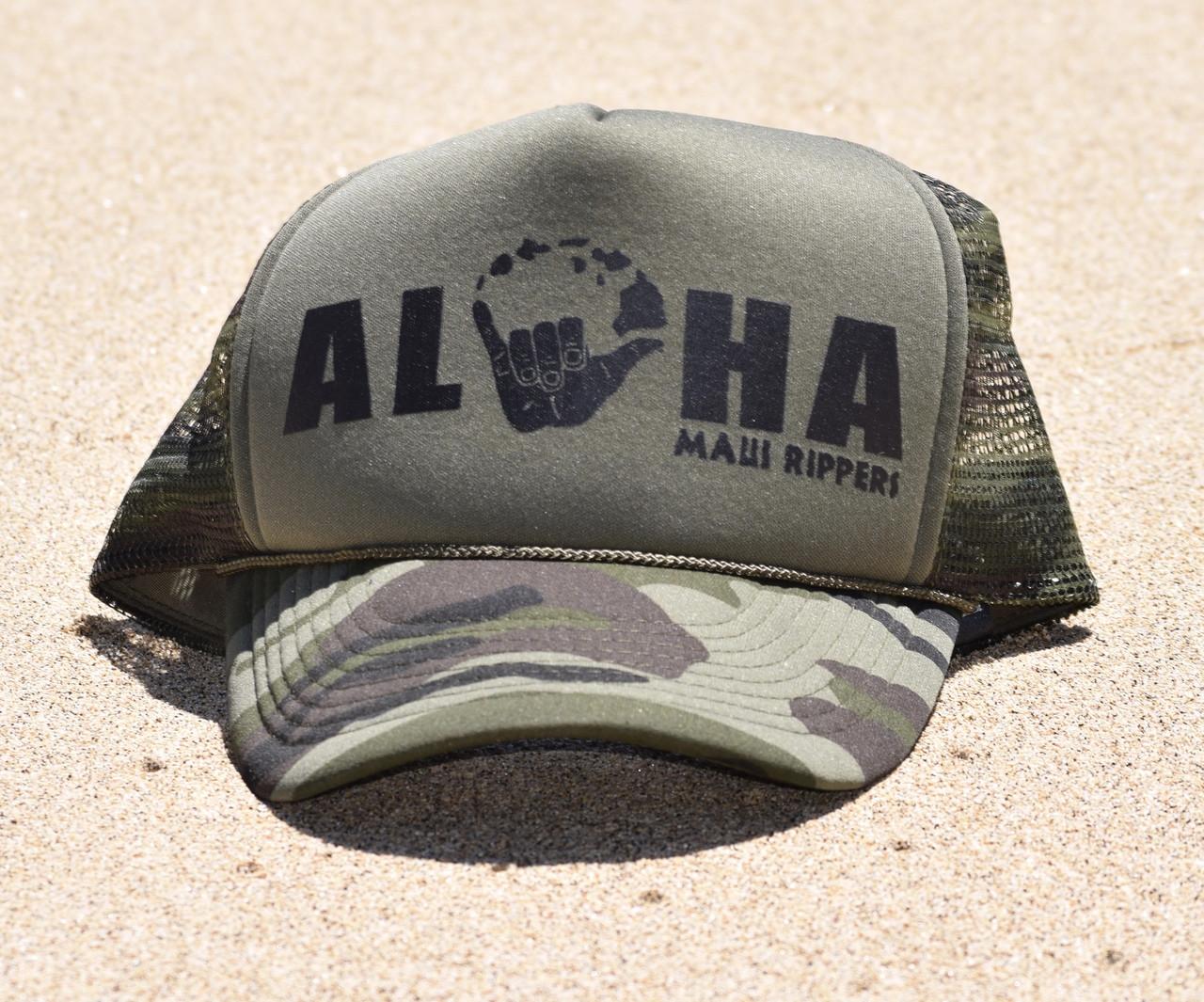 89a89fa24d92e2 Aloha Shaka Trucker Hat Camo - Maui Rippers Boardshorts
