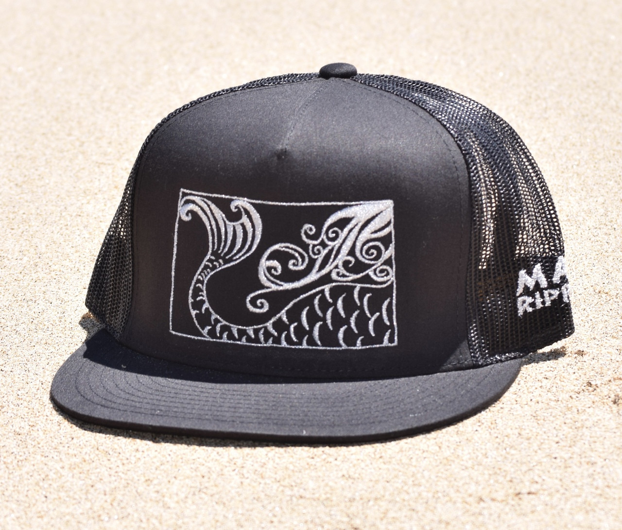 9941c79d0d6c52 Mermaid Tail Canvas Trucker - Hat Black/Silver - Maui Rippers Boardshorts