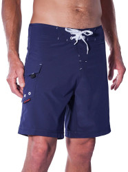 """Lifeguard Uniform Stretch fabric Navy Blue 19""""   Model is 6'1"""" wearing 19"""" Outseam"""