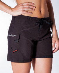 "Black 5"" Women's Boardshort Side"