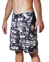 Hawaiian Black and white camo swim short board short