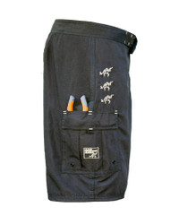 Limited Edition Fishing Shorts Black with Silver Embroidery and Pliers Pocket