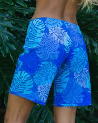 "Monstera Leaf Blue 9"" Women's Boardshort Back"