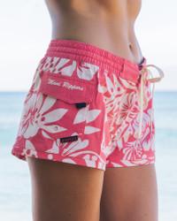 """Women's Waikiki Vintage Hibiscus 2.5"""" Boardshort Side"""