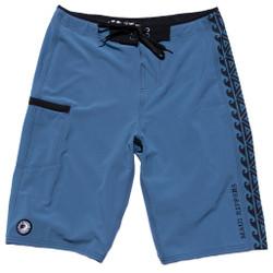 "24"" Extra Long Tribal Blue Boardshort Below the Knee"