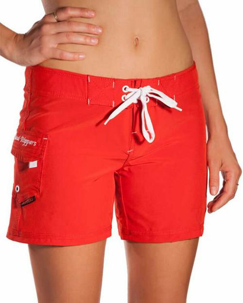 "Women's Stretch Boardshort Red 5"""