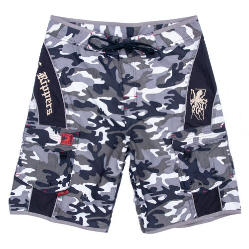 Hawaiian Black and white camo swim short board short
