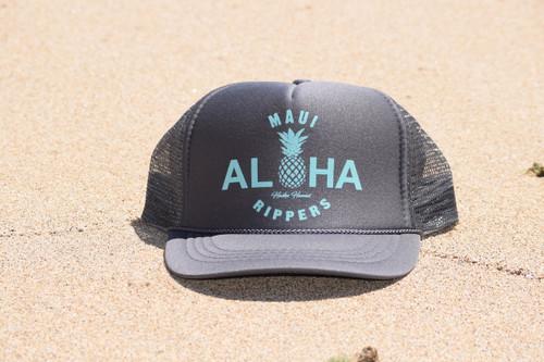 Aloha Pineapple Trucker Hat Charcoal Turquoise