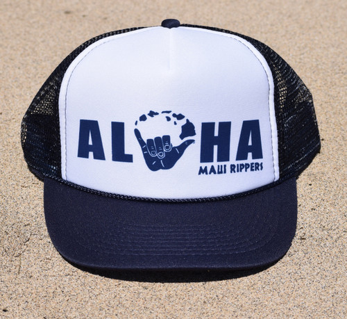 Aloha Shaka Trucker Hat Navy White