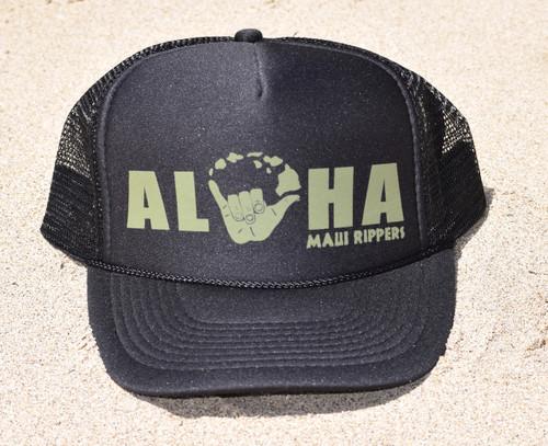 Aloha Shaka Baseball Cap - Black/Green