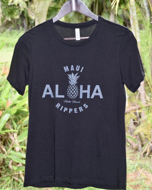 Aloha Pineapple Womens Tee - Black
