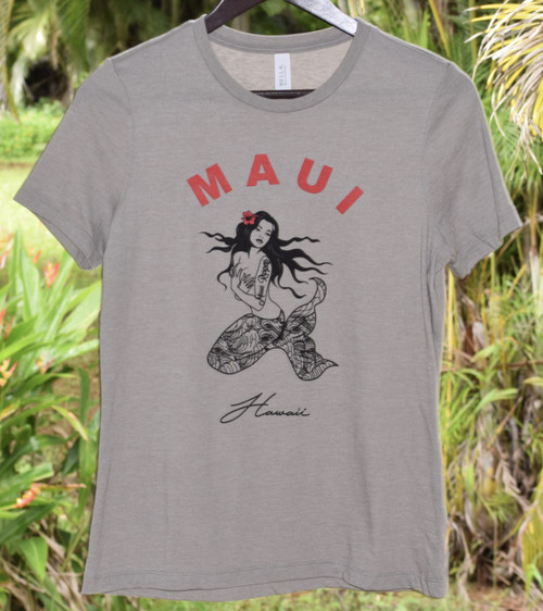 Maui Mermaid Womens Tee - Stone
