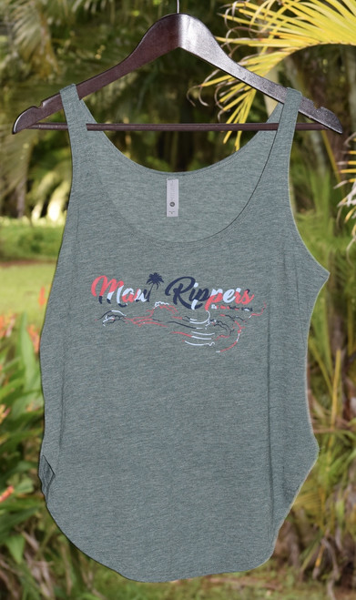 Maui Rippers Wave Womens Festival Tank - Royal Pine with Hot Pink Print