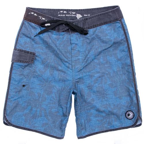 """Vintage Hawaii Leaf 19"""" Blue Boardshort Side"""