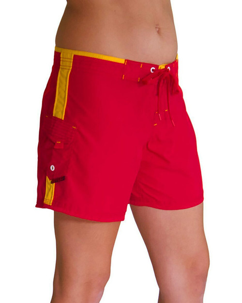"""Women's Lifeguard Uniform 5"""" Stretch Boardshort Red and Yellow"""