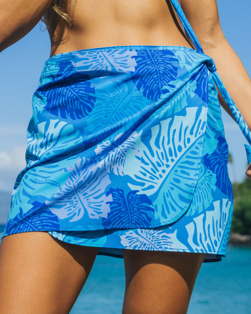 Short Wrap Skirt Sarong - Monstera Blue