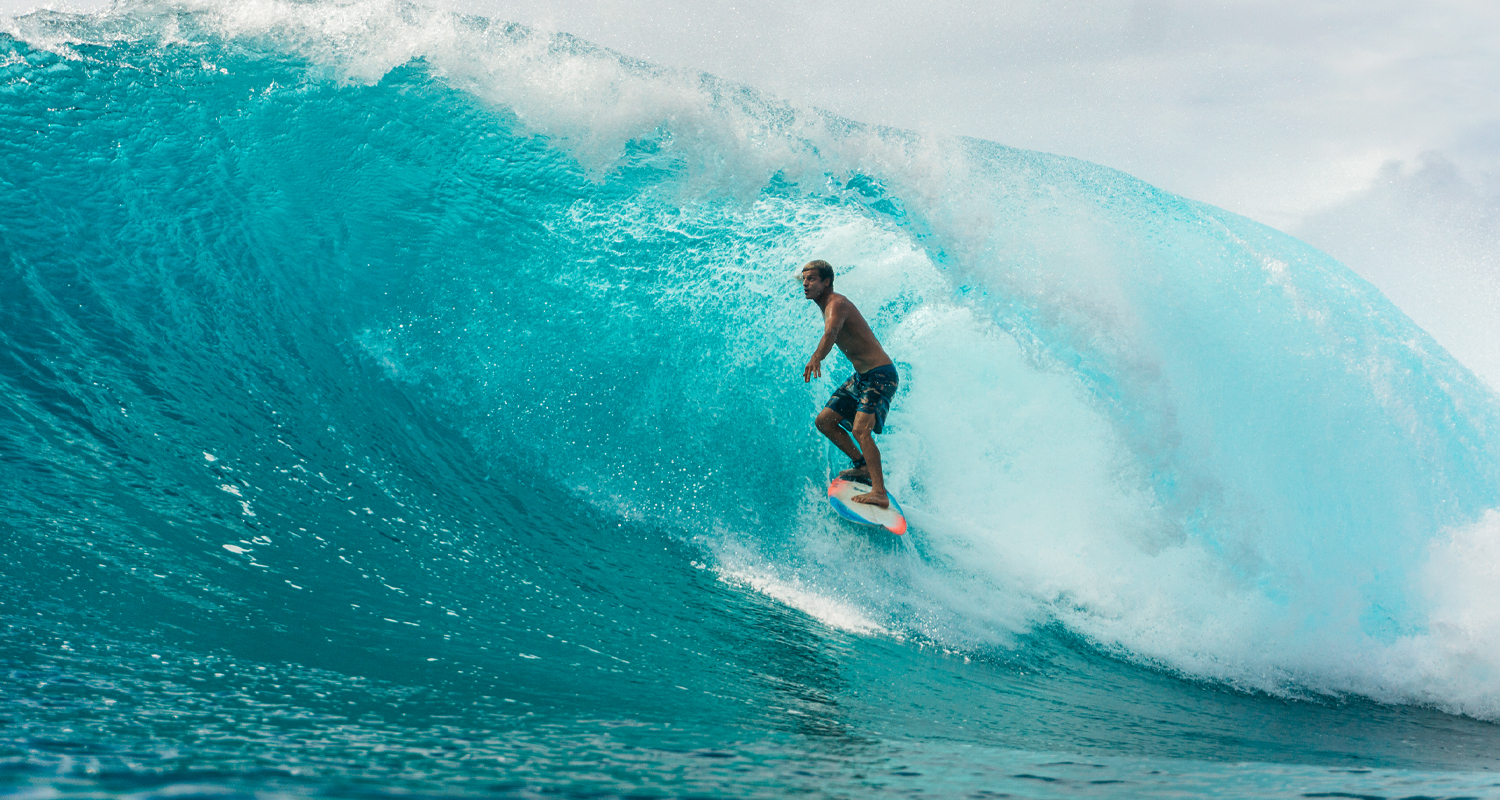 Pro surfer at honolua bay in maui rippers boardshorts