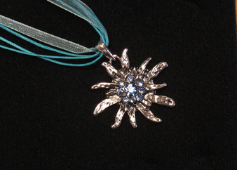 Swarovski Crystal Edelweiss Necklace Blue