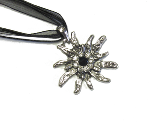 Swarovski Crystal Edelweiss Necklace Black