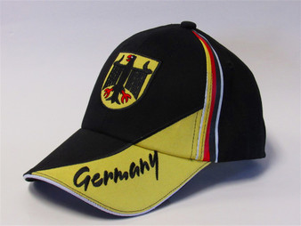 German Striped Cap with Eagle Crest Front