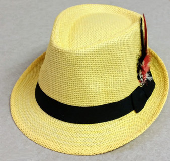 Trilby Hat with feather - Yellow