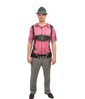 Costume Faux Lederhosen Shirt Front Red