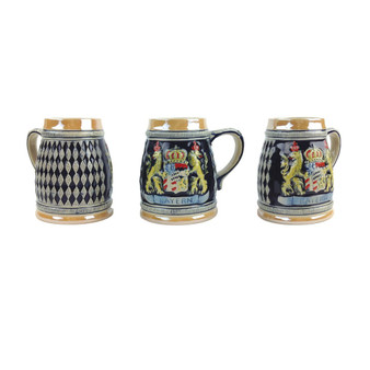 "Bayern Stein without lid. This decorative engraved Bayern Coat of Arms stein will make for a great gift or decorative accent to your collection! Colorfully decorated collectible beer steins are popular around the world. The origin of German Beer Steins date back to the 14th century. In German speaking regions a stein may be known as ""Humpen"" (if stoneware) or ""Steinkrug"" (if earthenware). ""Beer Stein"" derives from the German words ""Bier"" (beer) and ""Steinkrug"" (literally stone crock). Bayern Coat of Arms beer stein capacity holds about one bottle of beer."