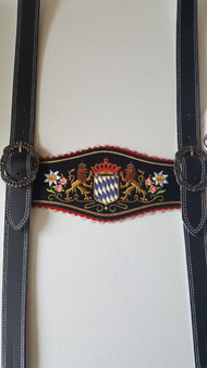 Suspenders Black Leather Bavarian Lion
