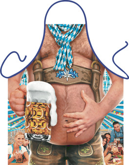 Itati Funny Bavarian German Cooking BBQ Apron -  Alpen Beer Six Pack Man